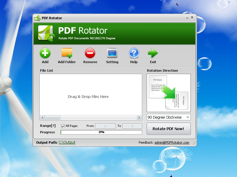 PDF Rotator is a windows app permanently rotates PDF files 90 or 180 degrees